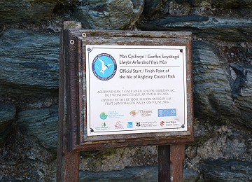 Anglesey Coastal Path Start sign at Holyhead Church
