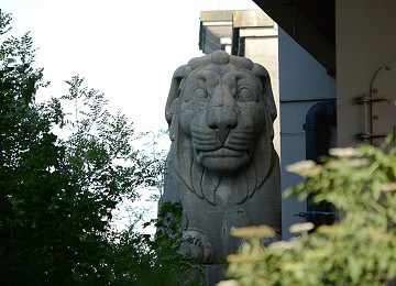 The Britannia limestone Lion on the Anglesey side