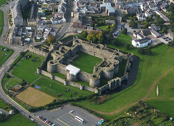 Beaumaris castle on Anglesey from the air