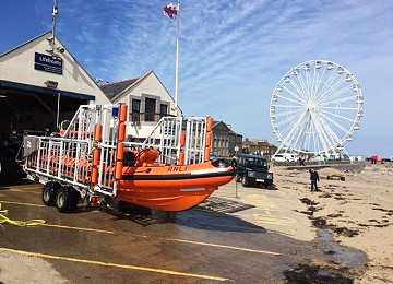 Beaumaris lifeboat and Feris wheel in background