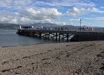 Beaumaris Pier and beach from next to lifeboat station