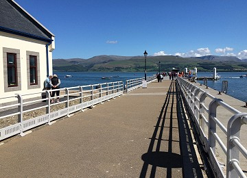 Beaumaris victorian pier and Snowdonia