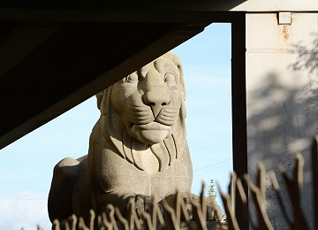 One of the Britannia Bridge lions almost hidden