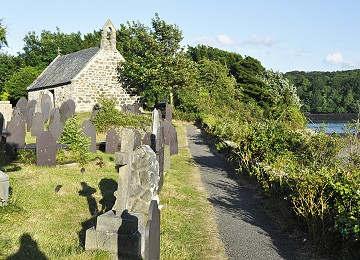 The church of Saint Tysilio on church island in Menai Bridge