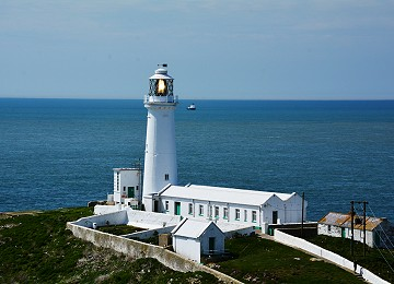 Close up of South Stack lighthouse with light flashing