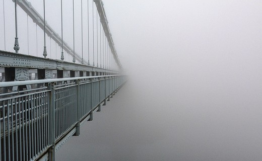 Foggy Menai Suspension Bridge Canvas for Sale