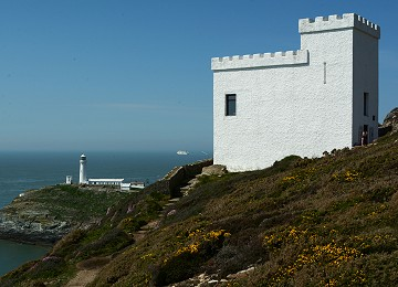 Elin's Tower and South Stack lighthouse with Irish ferries