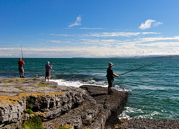 Fishing of the rocks at Moelfre on Anglesey