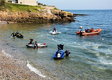 Jet Skis arrive at Moelfre South beach on Anglesey