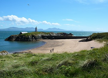 Llanddwyn Island beach Twr bach and mountains