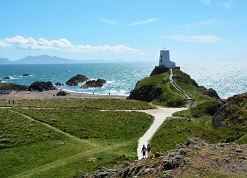 Llanddwyn island beaches paths and lighthouse in summer