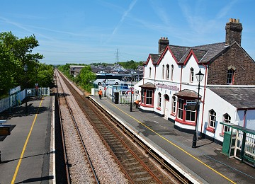 The station and platform at Llanfairpwll railway from the footbridge