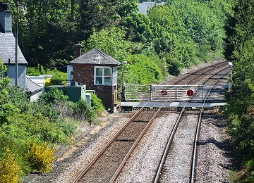 Llanfairpwll signal box from bridge