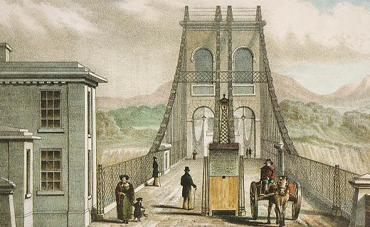 Old line drawaing of Menai Suspension Bridge