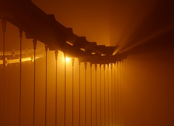 Mist and light on the Menai Suspension bridge
