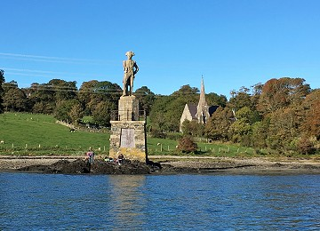 Nelsons Statue on the shores of Menai Strait on Anglesey