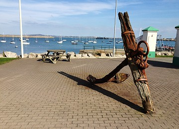 Old ships anchor on holyhead promenade