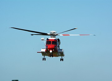 H M Coastguard helicopter coming in