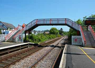 Newly painted foot bridge at Llanfairpwll Railway Station