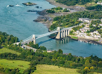 The Menai Suspension Bridge from the air
