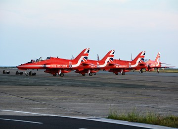 The Reds arrive back at RAF Valley after a visit to the Isle of Man