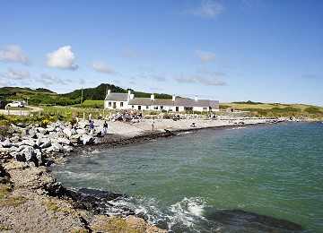 Tide in at Moelfre north beach
