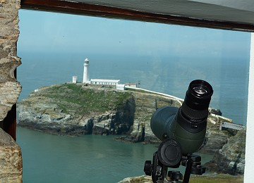 Viewing window of south stack lighthouse at Elins tower